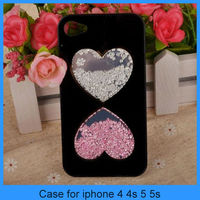 2014 wholesale Rhinestone phone case Cute Fashion Bling Love Heart Diamond Crystal Case Cover For iPhone 4 4s 5 5s (PT-I4246)