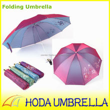 23''x10K Color changing 3 folded anti uv umbrella/Parasol with silver coating inside