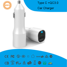Type-C car charger with QC 3.0 car charger,fast charging car charger 5V 5.4A