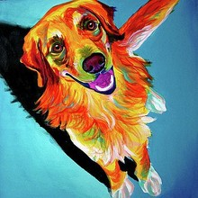 Animal colorful parrot stand on pet dog head Oil painting on Canvas