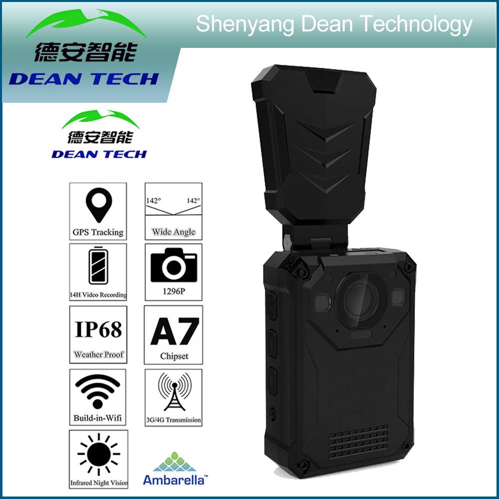 64G 3G 4G wifi police body worn camera with GPS and more than 12 hours recording Wifi Live Stream on Mobile Phone