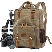 Wholesale Larger Capacity Casual Waterproof Waxed Thick Canvas Photo Camera Backpack Bag