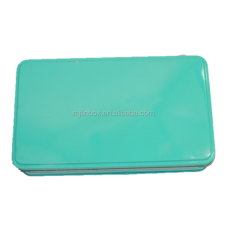 Dark green Rectangle Metal Customized Exist Mold Pencil Tin Box For Sale