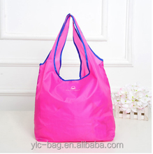 Polyester shopping bag folding reusable recycled customized shopping bag cheap nylon foldable shopping bag
