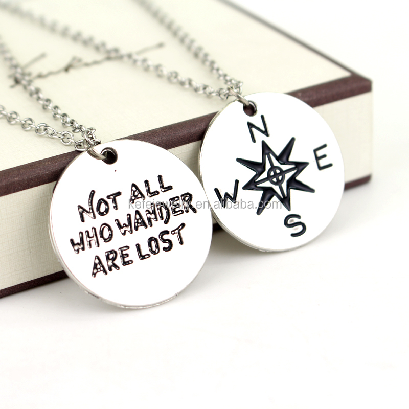 2piece Not All Who Wander Are Lost Necklace Wanderlust Compass Pendant Charm Travel Necklace