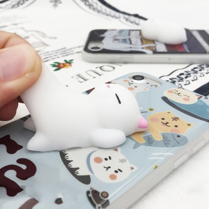 2017 Hot Selling Soft Silicone Cute 3D Animal Toy Slow Rising Squishy Cat Phone Case For iPhone 7 Plus
