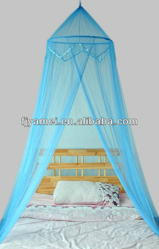 MOSQUITO NET CANOPY BLUE WITH BEADED TRIM