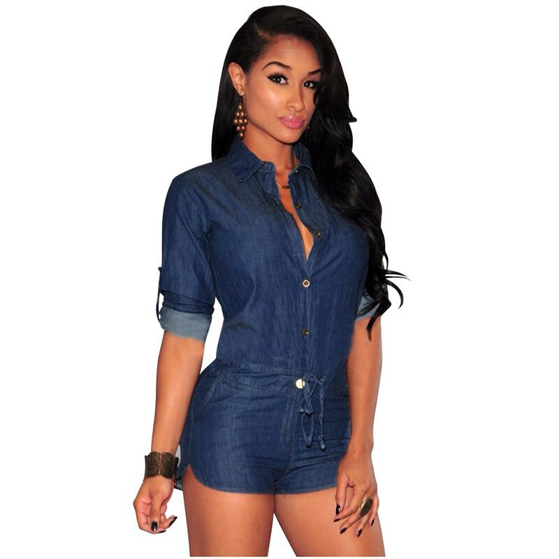 c48c6853094 Get Quotations · summer autumn hot sale dark blue denim shorts women  bodycon jumpsuit and romper 2015 sexy turn