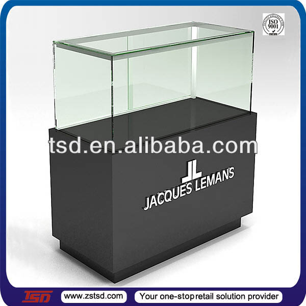 TSD-W003 Custom watch store glass vitrine display cabinet,horizontal display cabinet,wooden glass display showcase