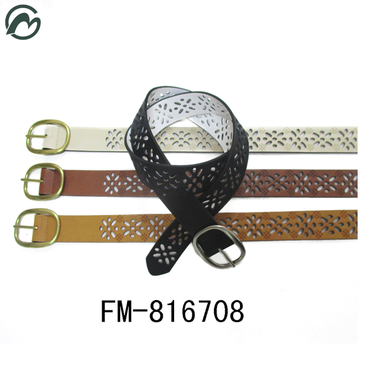FM brand Decorative Dress Lady'S belt Artificial Leather Gold Waist PU Belt