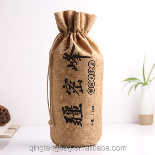 order round bottom jute drawstring bag