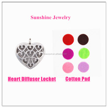 Factory Direct Heart Shape Essential Oil Diffuser Necklace Locket