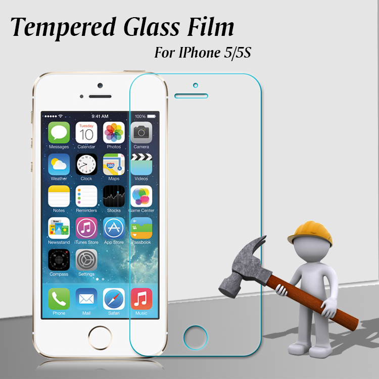 Wholesale 0.33mm clear Anti-glare Oleophobic 2.5D mobile phone 9H premium tempered glass screen protector for Iphone 5s