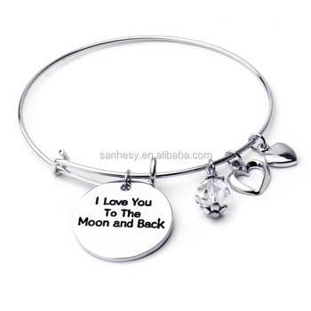 I Love you to the moon and back bracelet Personalized Bangle