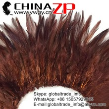 ZPDECOR Carnival Costumes Material Wholesale Dyed Brown Strung Chinese Rooster Saddle Feathers