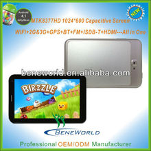 Metal Tooling 7'' MTK 8377 dual core video call tablet pc with gps 3g