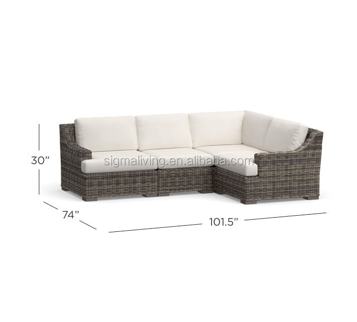 ALL-WEATHER WICKER SECTIONAL SLOPE ARM luxury outdoor furniture  garden furniture set