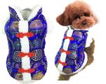 Dog blue chinese style tang suit for pet