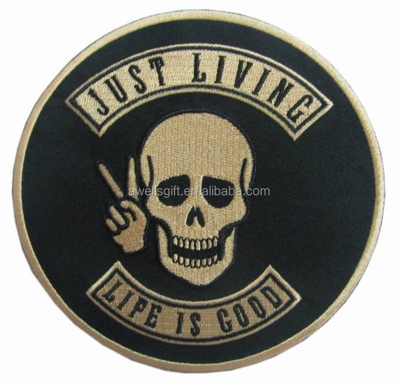 Embroidery SKULL Motorcycle Vest BACK PATCH