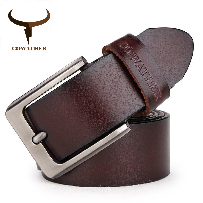 COWATHER fashion cow genuine leather 2019 new men fashion vintage style male <strong>belts</strong> for men 100-150cm waist size 30-52