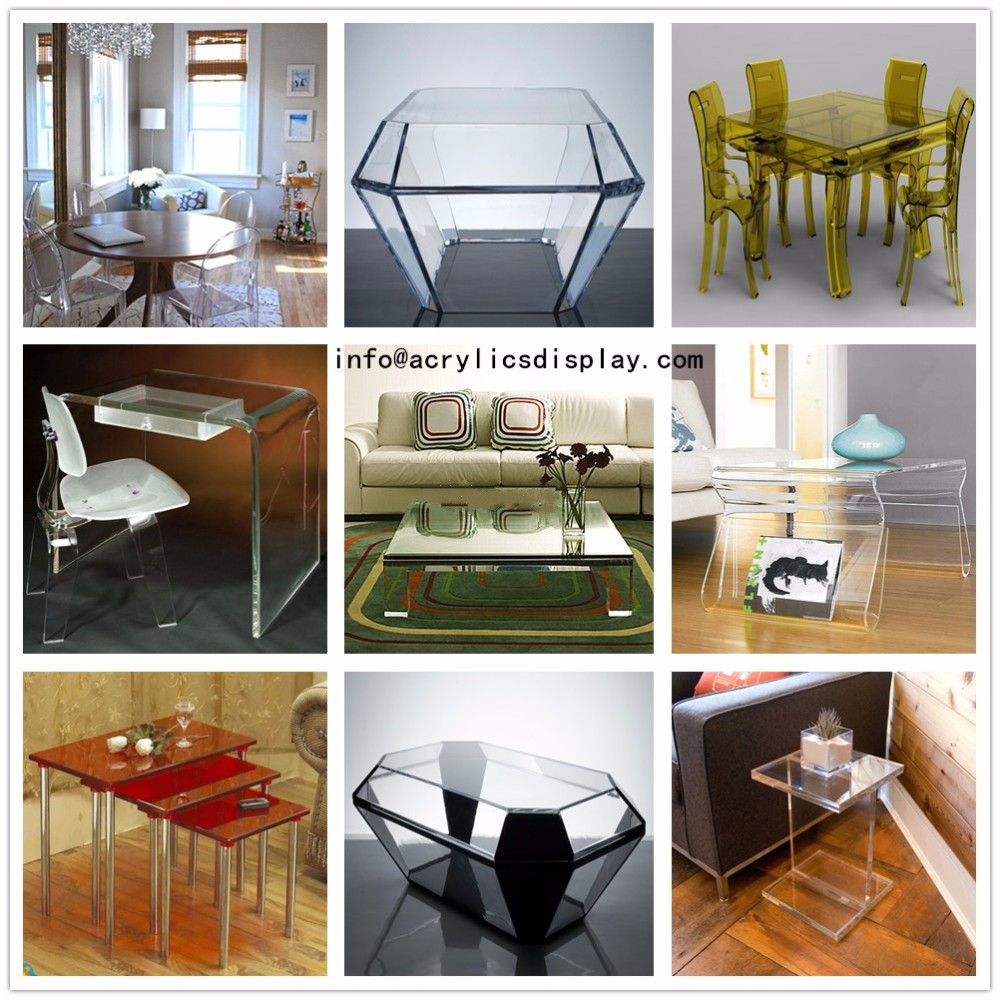 Clear acrylic coffee table and dining furniture, small perspex furniture, plastic end table