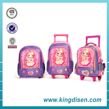Best popular style Nylon EVA 3D Kids trolley school bag for Girls