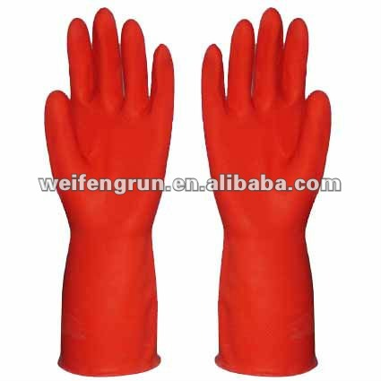 red color latex household glove