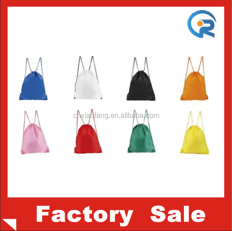 Customized polyester kids school bag/color drawstring backpack