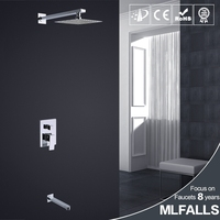 Mlfalls european design pull out shower tap mixer rainfall shower head with singel handle shower mixer