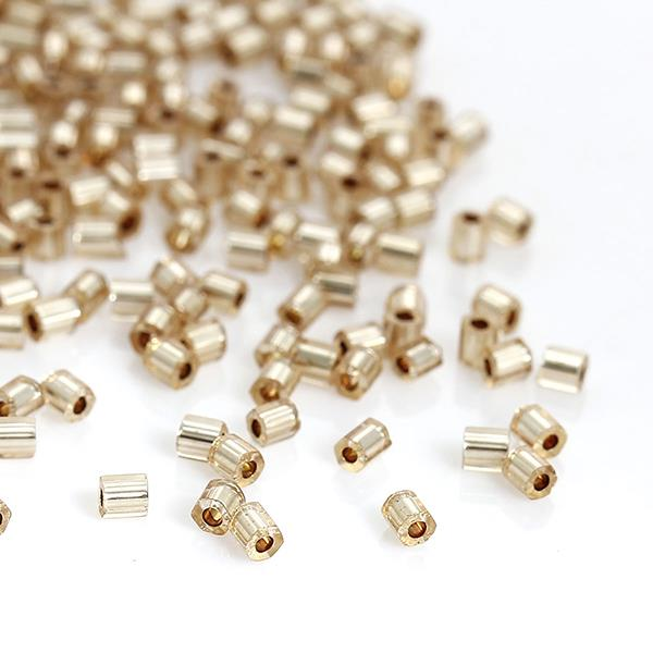 Glass Seed Beads Hexagon Champagne Silver Lined About 2mm x 2mm, Hole: Approx 0.8mm