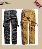 Hot fashion high quality custom casual style camouflage side multi pockets jogger cargo pants for men