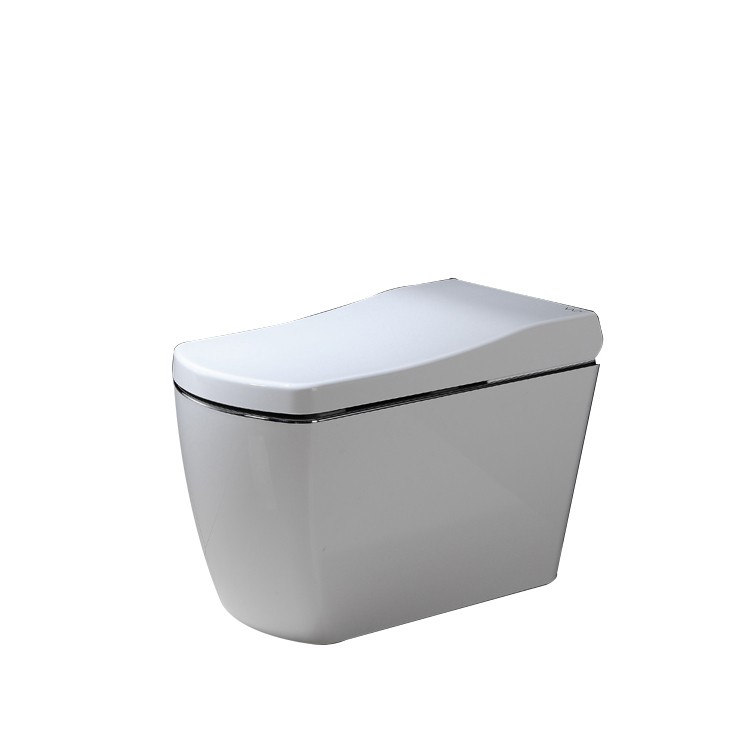 White sensor toilet auto flush with spray nozzle