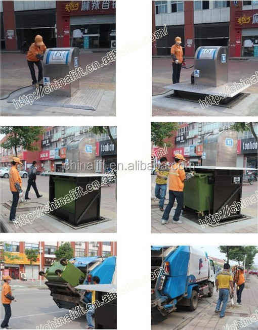 New model city cleaning equipment trash box garbage bin lifting scissor lift