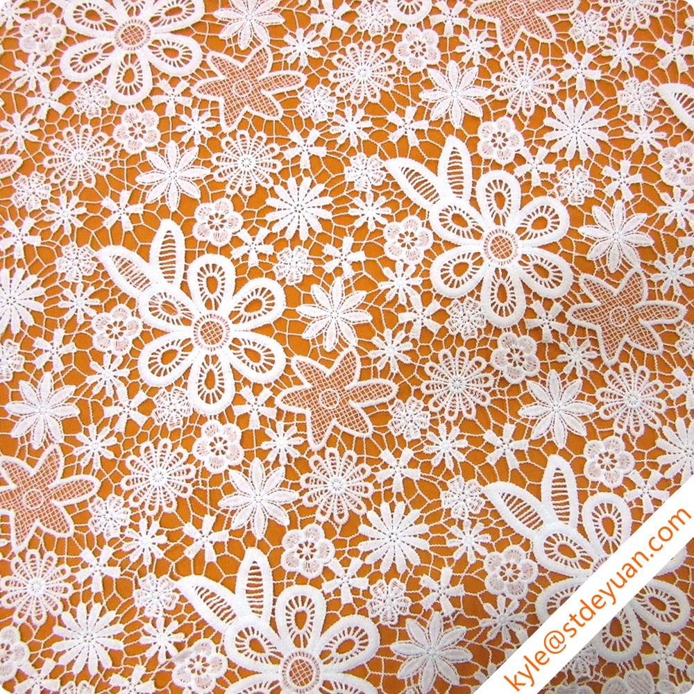 New Fashion 3D Flower Lace Embroidered Fabric Water Soluble Lace Fabrics for Skirts (D348)
