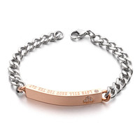 Allencoco stainless steel bracelet jewelry, 316L stainless steel christian and buddhist bracelets with rhinestone
