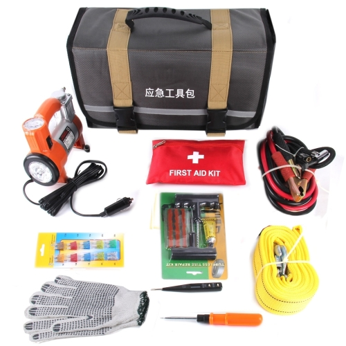 2017 Wholesales Great value First aid kit Car/Truck Roadside Emergency tool Kit Bag with Safety tools and Accessories Whole Set