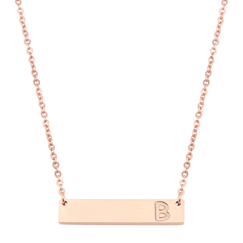 Stainless Steel Rose Gold Bar Initial <strong>Necklace</strong> Personalized Letter <strong>Necklace</strong> For Wedding Gift