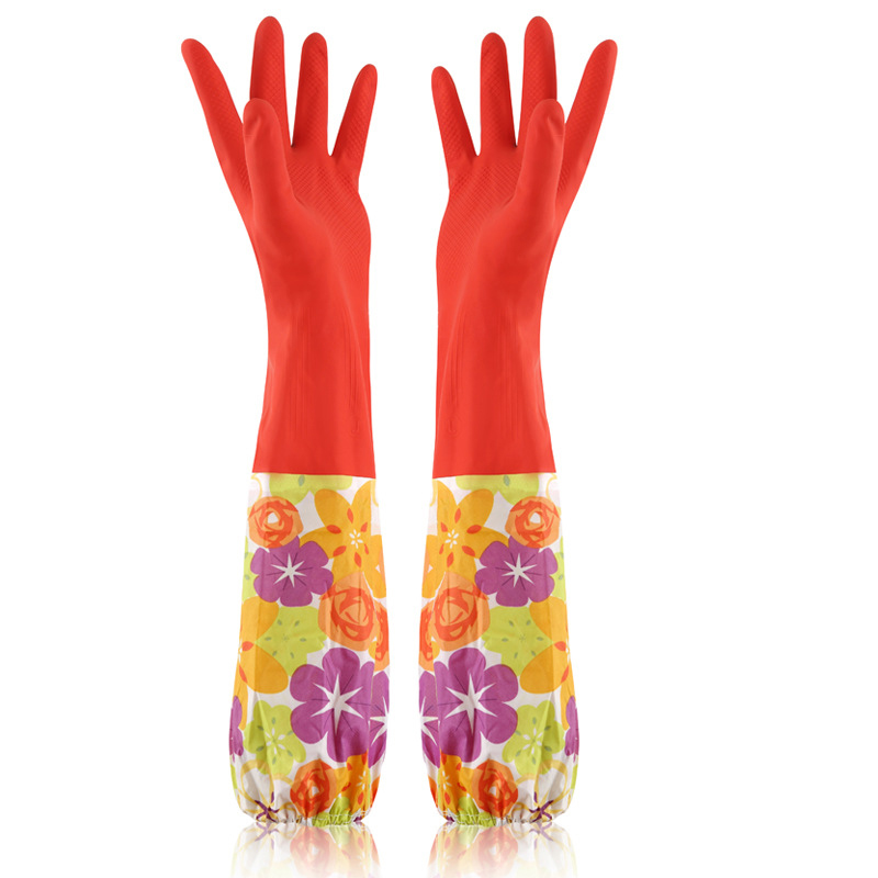 Waterproof Household Dishwashing Glove Flower Sleeve Long Warm Rubber Gloves