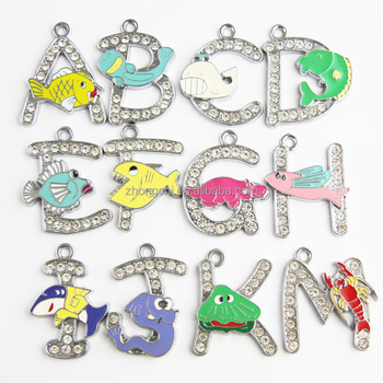 Fashion new design large pendant sea animal letter crystal pendant for jewelry making