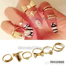New 7PCS Gold Skull Cute Knuckle Ring Band Midi Rings