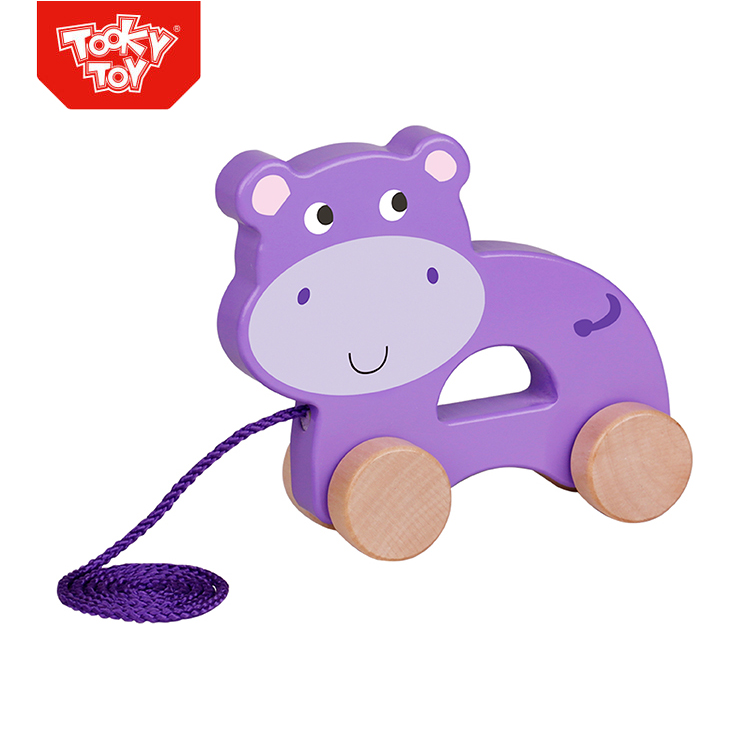 Kids Pull Along Hippo Toy Rocking Wooden Pull String Pull Toy