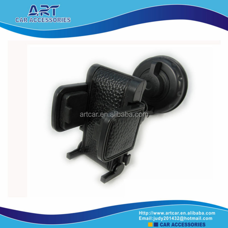 universal phone car holder for mobile,mp3,GPS,mp4,pad made with leather and soft rubber lining