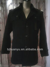 heavy winter 3 buttons long black colour wool coats for men