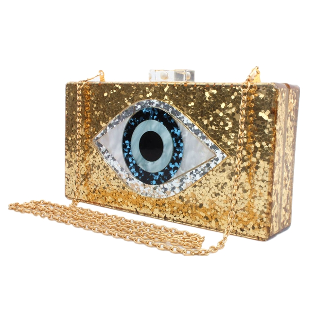 Gold Acrylic Clutch Bags Glitter Purse Perspex Bag Eye Design Evening Handbags for <strong>Women</strong>