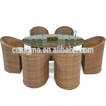 2018 Outdoor furniture weatherproof modern rattan dining table set