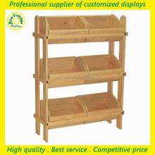 new style flooring 3 tiers wood display units for retailers general merchandise