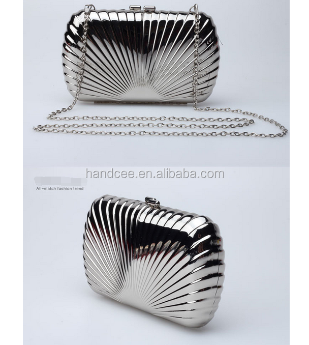 wholesale Handcee High-grade fashion hot sale sliver hardshell pattern clutch evening <strong>bag</strong>