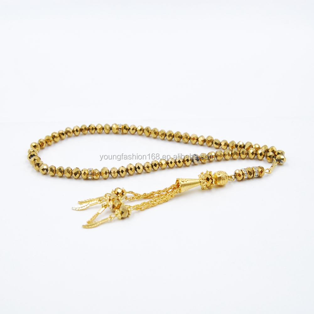 Gold rosary crystal material beads