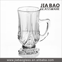 New style 100ml short stem glass coffee mug transparent tea glass cup with handle