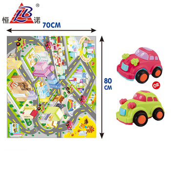 1 PCS Mini Cartoon Friction Car Play Set Chess Game With PVC Board Mat
